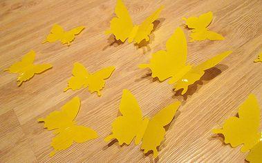 Nalepte.cz 3D motýli dekorace žlutí 12 ks 6 až 12 cm
