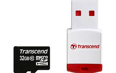 TRANSCEND Paměťová karta MicroSDHC 32GB + USB čtečka