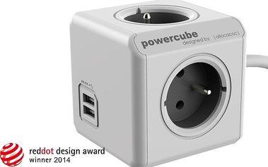 PowerCube EXTENDED USB prodlužovací přívod 1,5m - 4 zásuvka, šedá - PCC-PUSB