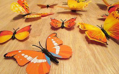 Nalepte.cz 3D motýlci na zeď žlutá 12 ks 5 až 12 cm