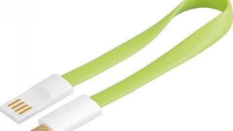 PremiumCord USB, A-B micro, magnetický, zelená - 0,2 m - 8592220011574