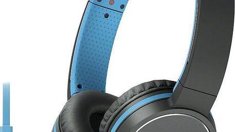 Sony MDR-ZX660AP, modrá - MDRZX660APL.CE7 + Sluchátka SONY MDR-EX15LPB, černá