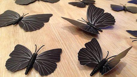 Nalepte.cz 3D dekorace motýlci černí se vzorkem 12 ks 12 kusů 6 cm až 12 cm