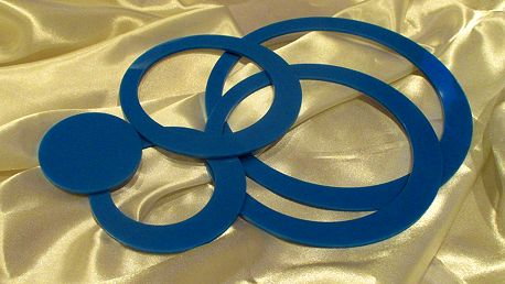 3D dekorace na zeď kruhy modré 5 ks 5 až 15 cm