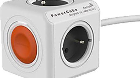 PowerCube multifunkční zásuvkový systém, 4x zásuvka, 1,5m, šedá/oranžová