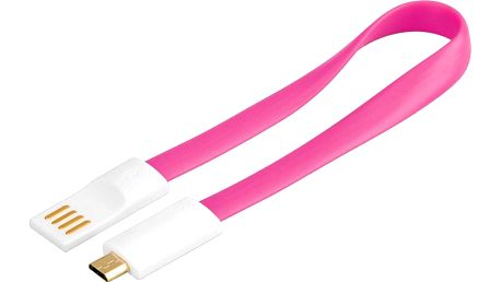 PremiumCord USB, A-B micro, magnetický, růžová - 0,2 m - 8592220011581