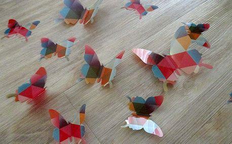 3D motýlci modern art 12 ks šíře 7 až 12 cm