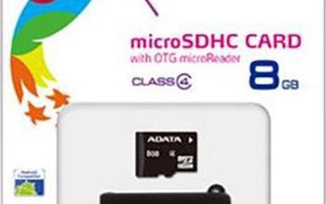 ADATA Micro SDHC 8GB Class 4 + OTG USB čtečka - AUSDH8GCL4-ROTGMBK