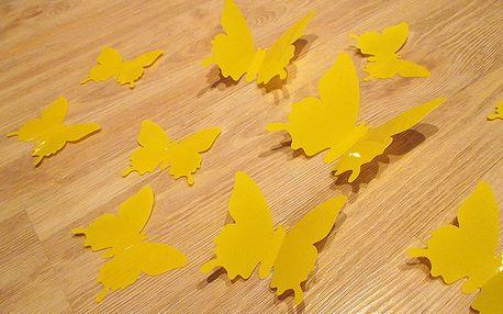 3D motýli dekorace žlutí 12 ks 6 až 12 cm