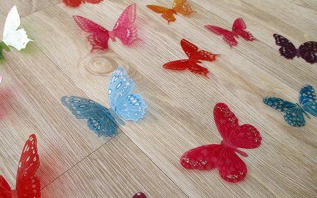3D motýlci vícebarevní 18 ks 5 až 6,5 cm
