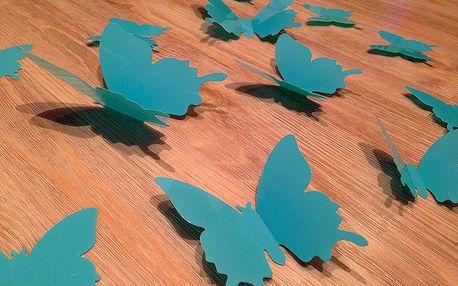 3D motýli na stěnu světle modrá 12 ks šíře 6 x 10 cm, šíře 6 x 5 cm