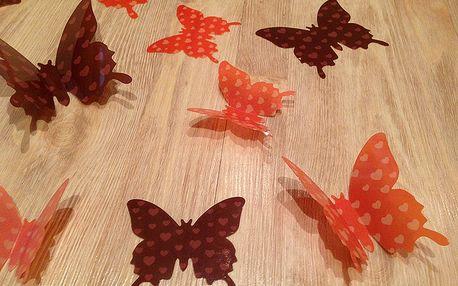 3D motýlci hnědí a oranž se srdíčky 12 ks 7 až 12 cm