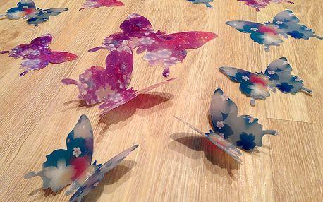 3D motýlci modrofialoví s kytičkama 12 ks šíře 7 až 12 cm