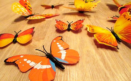 3D motýlci na zeď žlutá 12 ks 5 až 12 cm