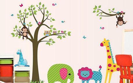 Strom slon a žirafa 130 x 95 cm
