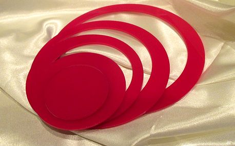 3D dekorace na zeď kruhy růžové 5 ks 5 až 15 cm