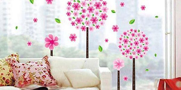 Nalepte.cz Rostliny s růžovými květy 60 x 40 cm