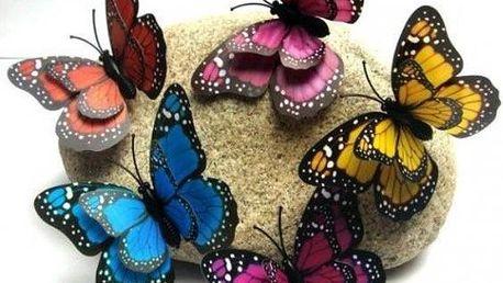 3D dekorace na zeď Motýlci 12 ks