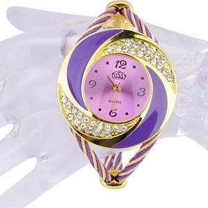 Stylové dámské hodinky v zlatofialové barvě - skladovka - poštovné zdarma