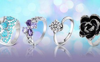 Moderní prstýnky s českými krystaly a bezplatná doprava