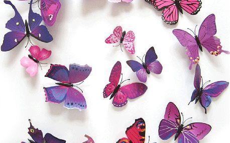 Barevná sada nástěnných motýlů - 12 ks