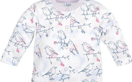Pinokio Dívčí kabátek s ptáčky, Bílá , 68