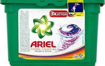 Ariel Power Capsules Color & Style gelové kapsle na praní barevného prádla 3X More Cleaning Power 15 kusů