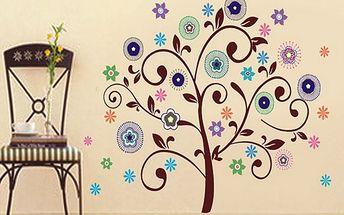 Nalepte.cz Stylový strom s květy 83 x 78 cm