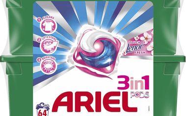 Ariel 3v1 Touch of Lenor Fresh gelové kapsle na praní prádla 2 x 32 kusů