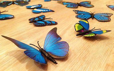Nalepte.cz 3D dekorace na zeď motýli modrá 12 ks 12 kusů 5 cm až 12 cm