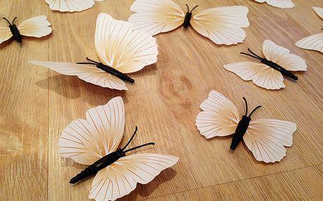 3D dekorace motýlci béžovobílí 12 ks 12 kusů 6 cm až 12 cm