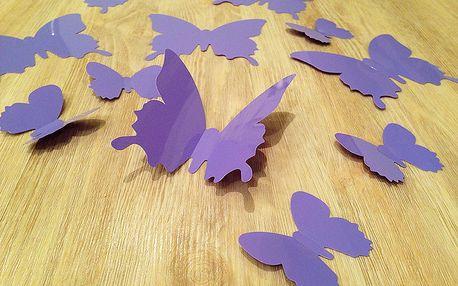 3D dekorace na zeď motýli světle fialová 12 ks šíře 6 x 10 cm, šíře 6 x 5 cm