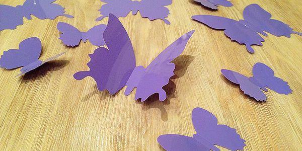 Nalepte.cz 3D dekorace na zeď motýli světle fialová 12 ks šíře 6 x 10 cm, šíře 6 x 5 cm