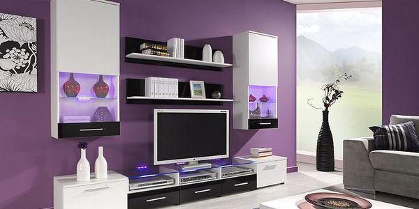 Luxusní obývací stěna CAMA 2A Bílý / Černý lesk
