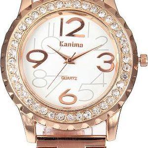 Dámské kovové hodinky s čirými kamínky