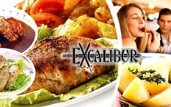 Obří degustační menu v pražské restauraci Excalibur! Hostina o celkové hmotnosti 1,65 kg uspokojí až 4 jedlíky! Pochutnejte si na krkovici, krůtím steaku, kuřecích medailoncích, kuřeti na messinský způsob, těstovinovém salátu a bramborách. K nabídce navíc
