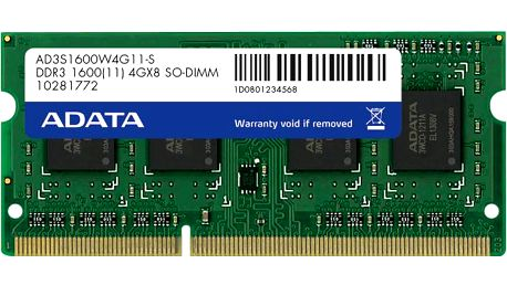 ADATA 8GB DDR3 1600 SO-DIMM CL 11 - AD3S1600W8G11-R