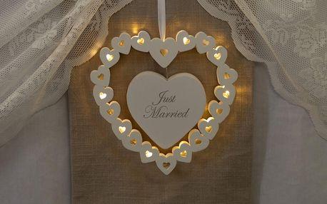 Svatební dekorace s LED světly Wooden Heart