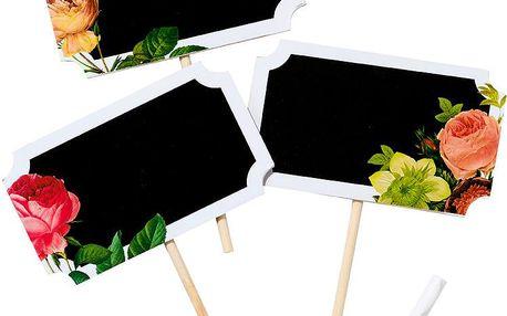 Cedulky s tabulí Floral, 6 ks