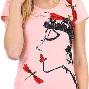 Krásné tričko s netradičním potiskem a kamínky růžová