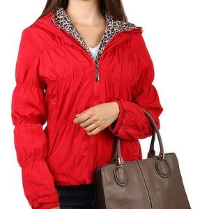 Moderní prošívaná bunda se zvířecím vzorem červená