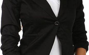 Stylové sako s 3/4 rukávy černá