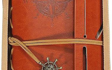 Cestovatelský deník v koženkových deskách - malý - hnědá - skladovka