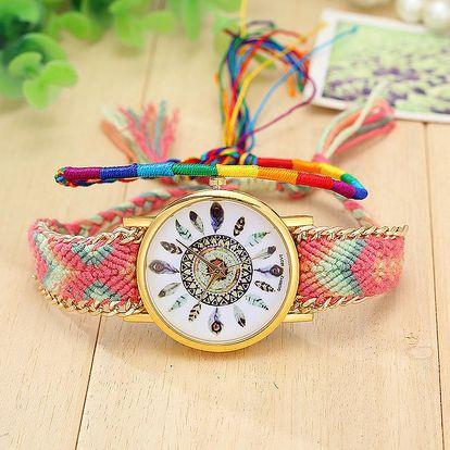 Barevné provázkové vintage hodinky s ptačími pírky