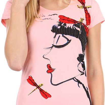 Dámské triko s avantgardním potiskem růžová