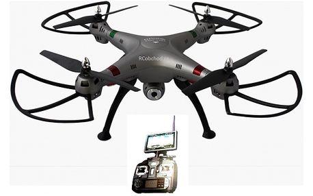 Obrovský RC dron s kamerou s přímým přenosem videa na obrazovku vysílače