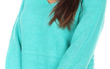 Pohodlný pletený svetřík s ornamenty na zádech zelenomodrá