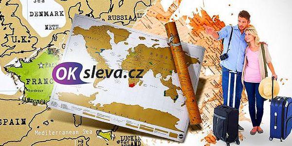 Stírací mapa světa! Originální dárek pro děti nebo pro milovníky cestování. Dodáváno v tubusu.