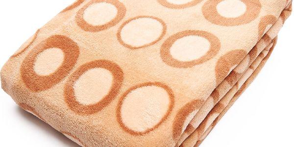 Kvalitní deka z mikrovlákna BUBBLES 150x200 cm béžová geometrický vzor Essex
