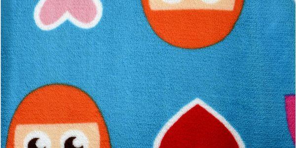 Dětská deka HAPPY FACES modrá 75x100 cm Essex
